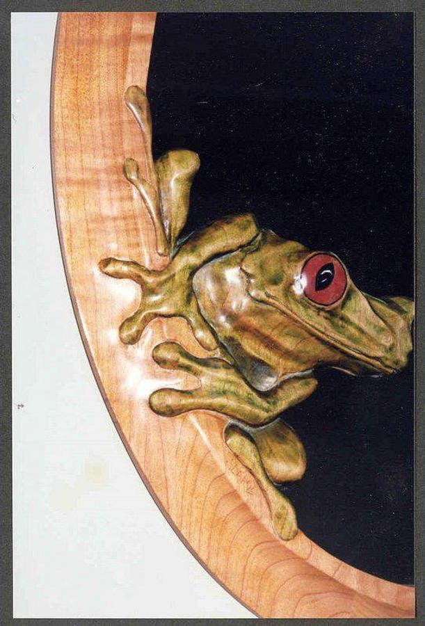 Frog mirror detail - Woodworking Project by WestCoast Arts