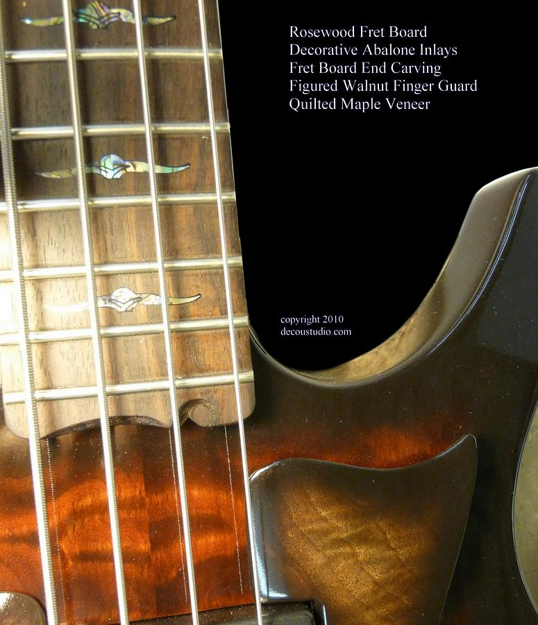 Electric Bass Guitar 4 String Custom Inlay Figured Maple Burl Walnut Abalone Ultra Rosewood Carving - Woodworking Project by Mark DeCou Studio