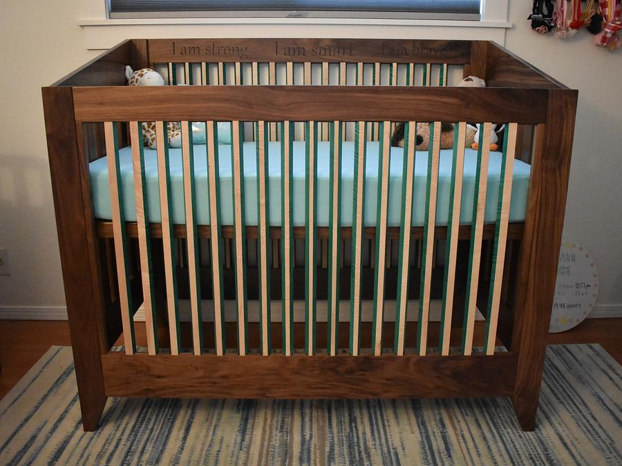 Crib made from walnut and maple - Woodworking Project by Lb7Jason