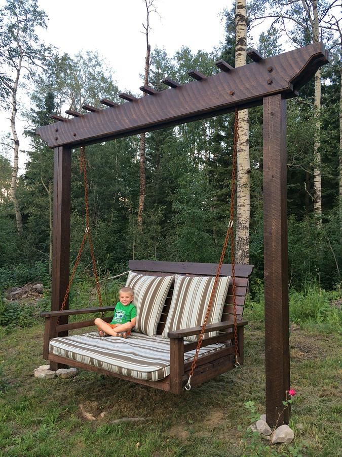 Pergola Swing/Day Bed Swing - Woodworking Project by Rosebud613