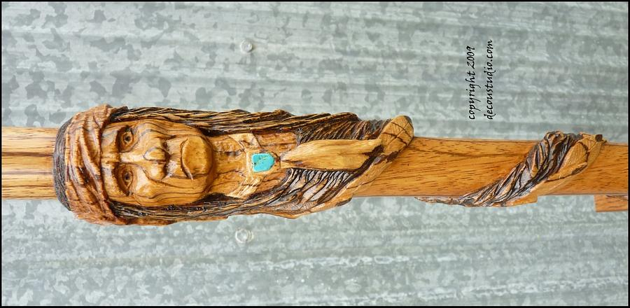 Carved Walking Cane Native American Chief Geronimo Handcarved Indian  - Woodworking Project by Mark DeCou Studio