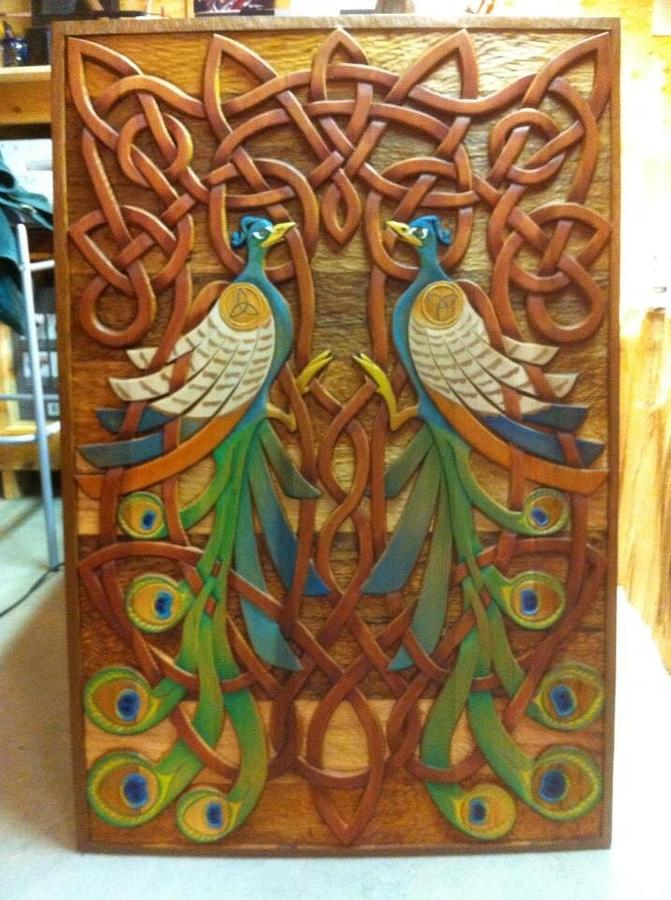 Celtic hand carved twin peacock panel  - Woodworking Project by Carver