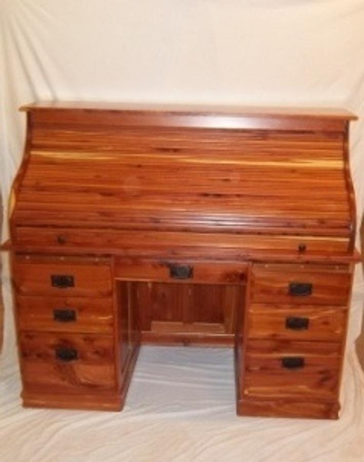 Cedar Roll top desk - Woodworking Project by woodbutchersc