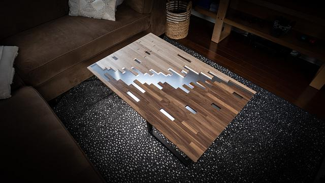 Pixelated Clear Epoxy Coffee Table
