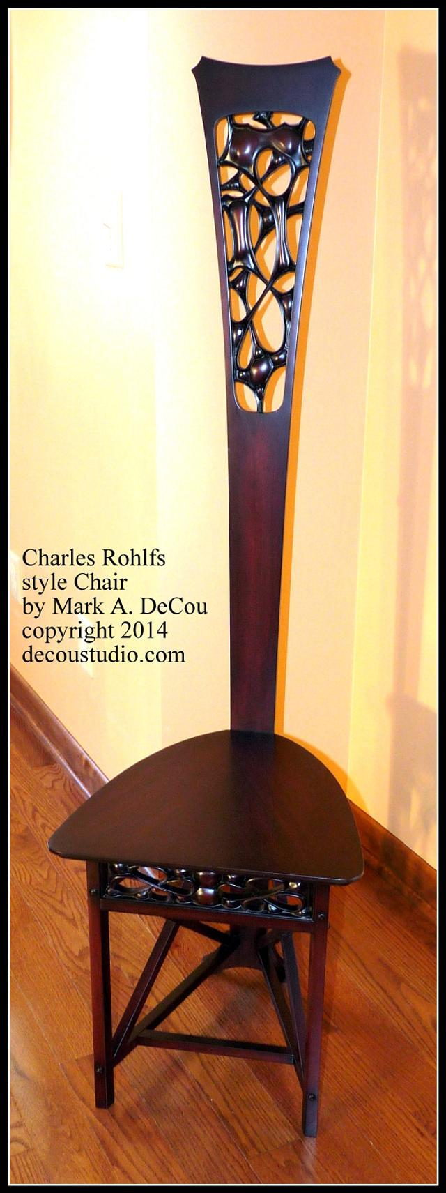 Rohlfs Charles Style Desk Chair High Back Recreated Mahogany PBS Roadshow