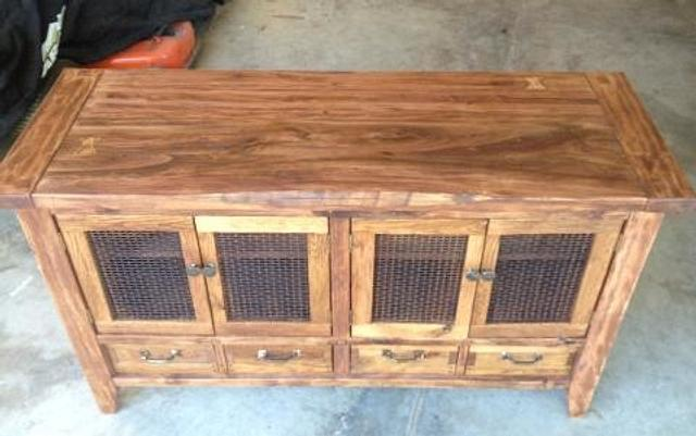 salvaged wood and hardware tv stand