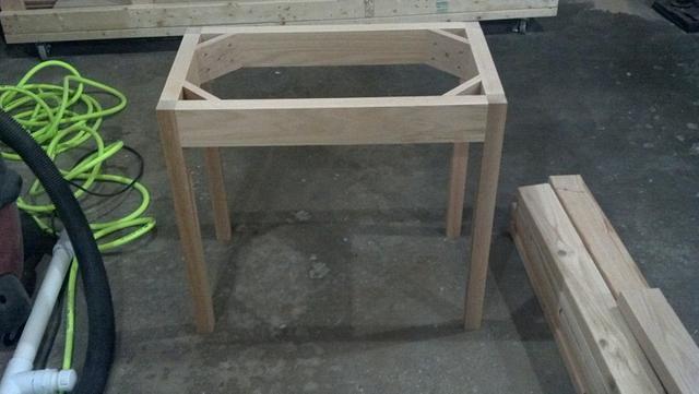 Oak and Walnut Side Table