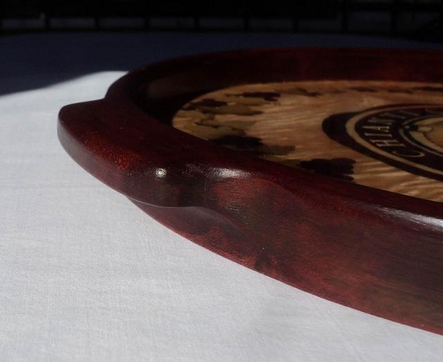 The Black Rooster, a Marquetry Tray