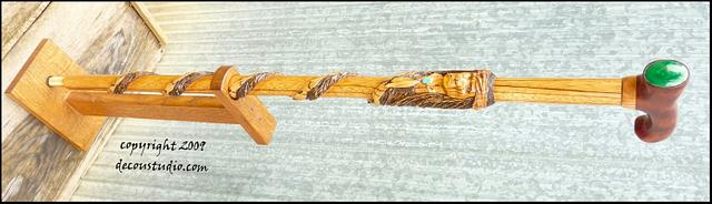 Carved Walking Cane Native American Chief Geronimo Handcarved Indian