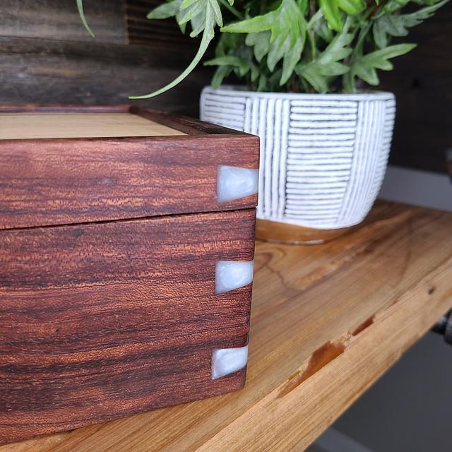 Valet box with bubinga and white epoxy dovetails
