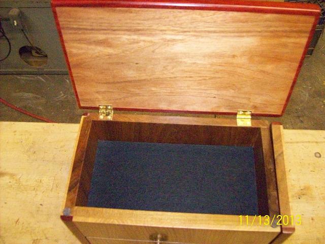 Curly Sassafras and Padauk Jewelry Box