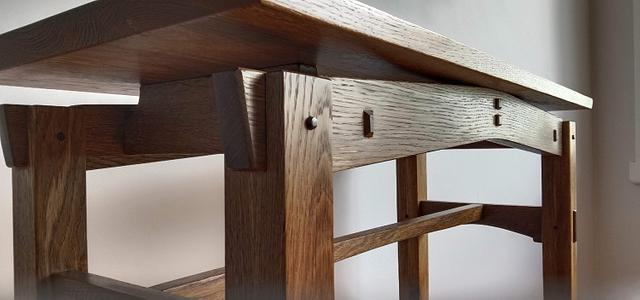 Fumed utility table in American Oak and recycled English Oak and walnut