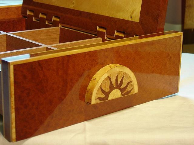 Wooden case with marquetry