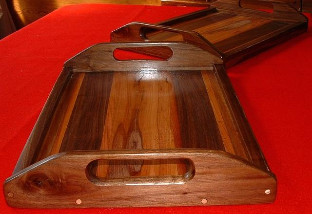 trays with beautiful wood