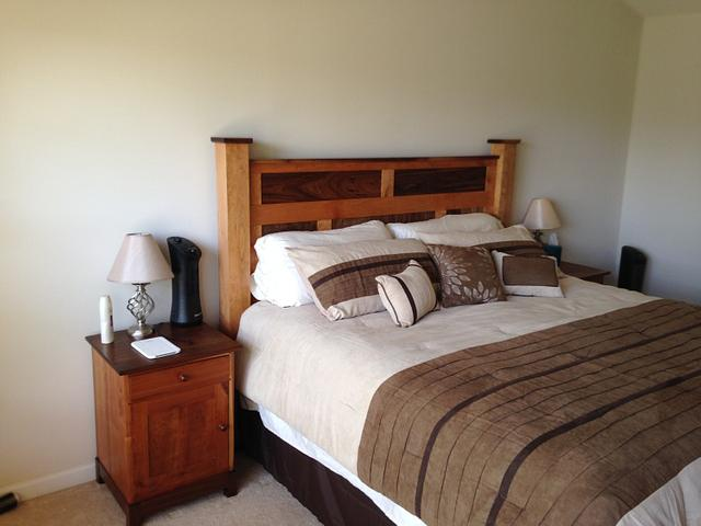 Cherry and Walnut frame and panel bed