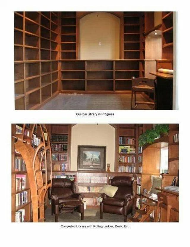 library, ladder, book cases,and stool.