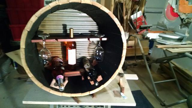 wine barrel turn to wine holder