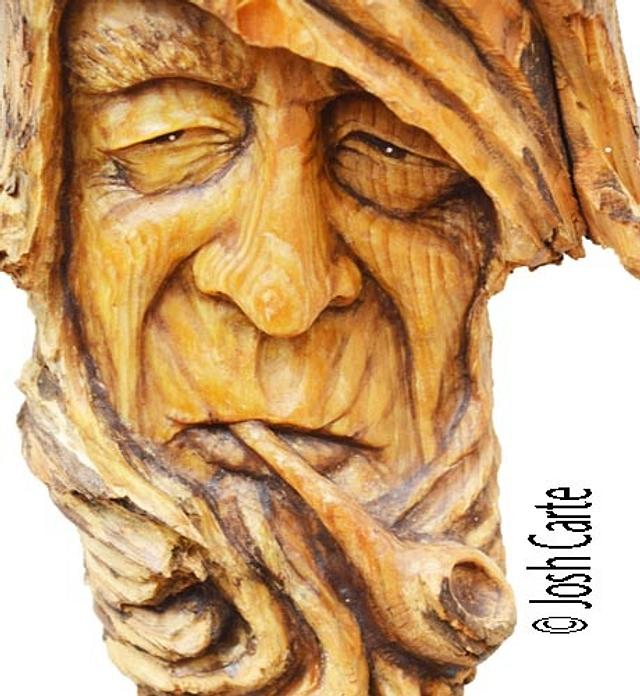 Pipe Smoking Hemlock Face Carving - Woodworking Project by JoshCarteArt