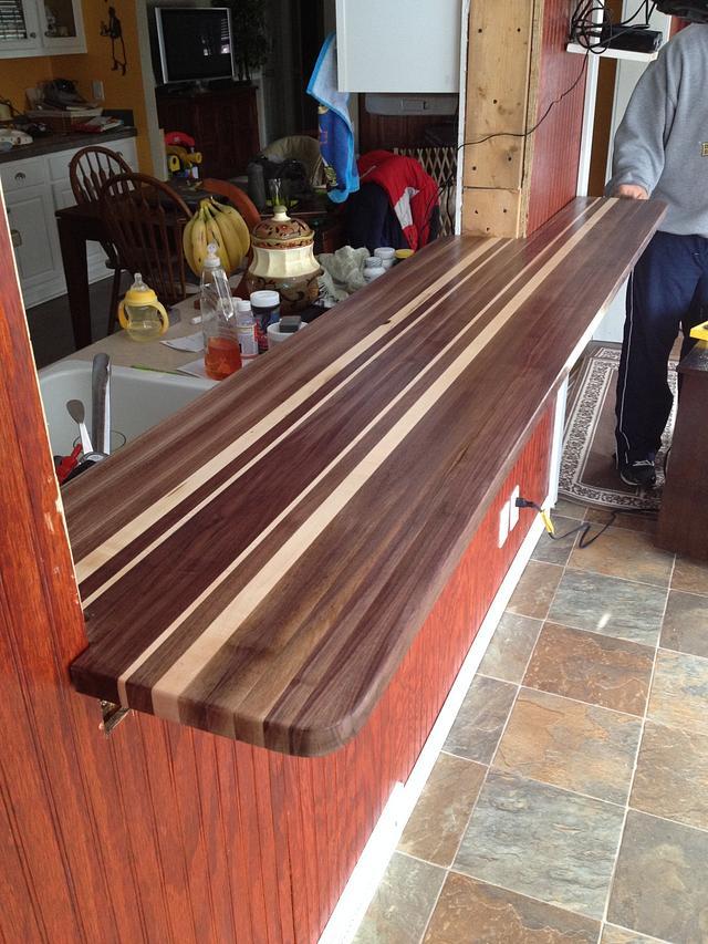 Walnut butcher block bar top