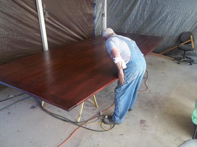 """Mahogany conference room table 2 1/2"""" thick top X 6' 8"""" wide 15' long"""