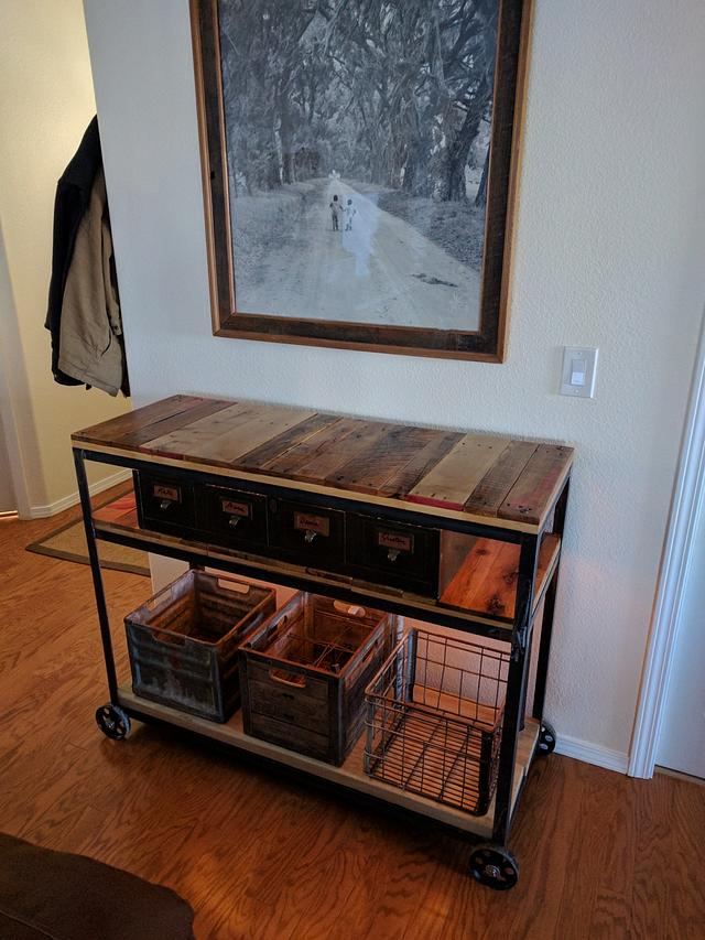 Steampunk Industrial Rolling Sidetable - Woodworking Project by Justin