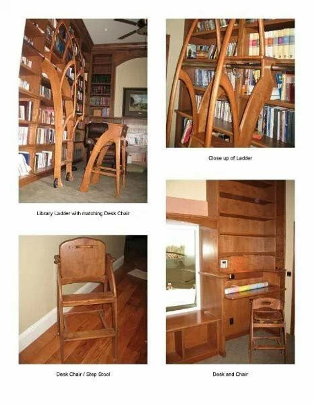 library, ladder, book cases,and stool. - Woodworking Project by Quin W.