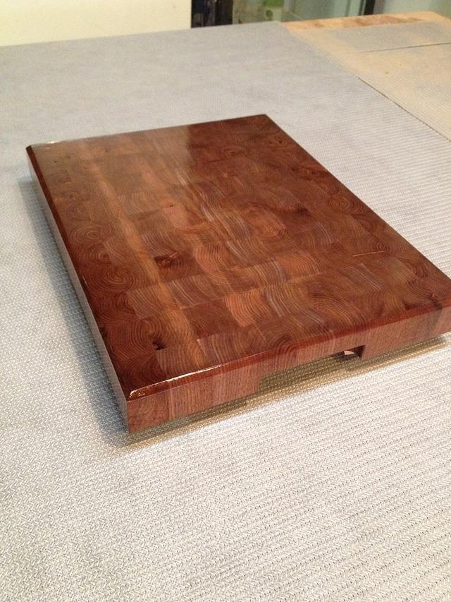 Walnut end grain butcher block with intergrated handles