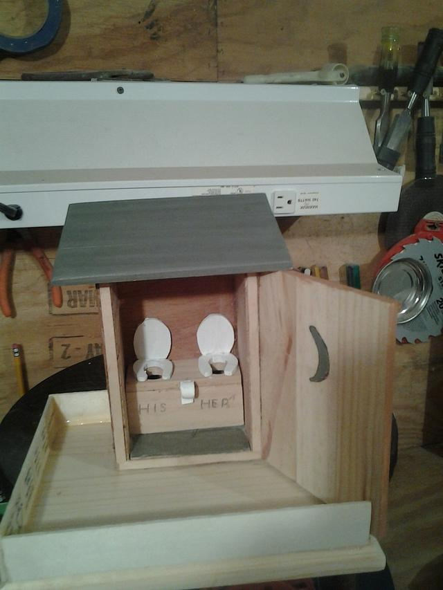 out house bird feeder in progress