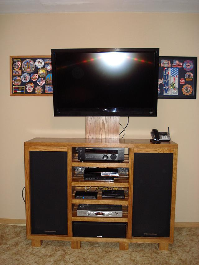 Solid Oak Entertainment Center - Woodworking Project by Roushwoodworking