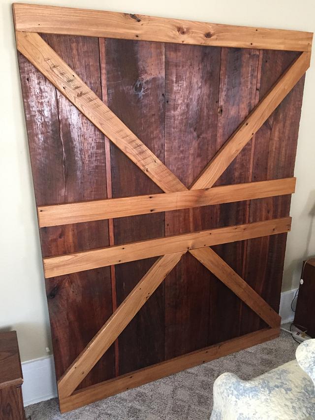 Barn door style head board