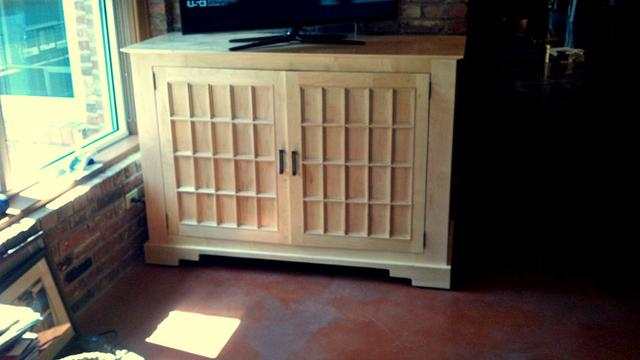 Solid Maple TV console with Shoji Screen inspired doors