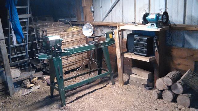 my wood lathe area