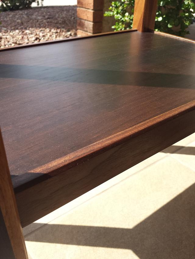 Handcrafted Solid Walnut Accent Table with Glass Tile