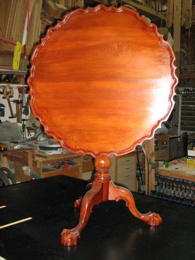 Piecrust tilt top table, finally after 8 years - Woodworking Project by a1jim
