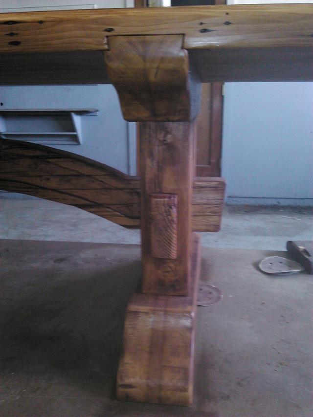 reclaimed Doug Fir, slab top, trestle table