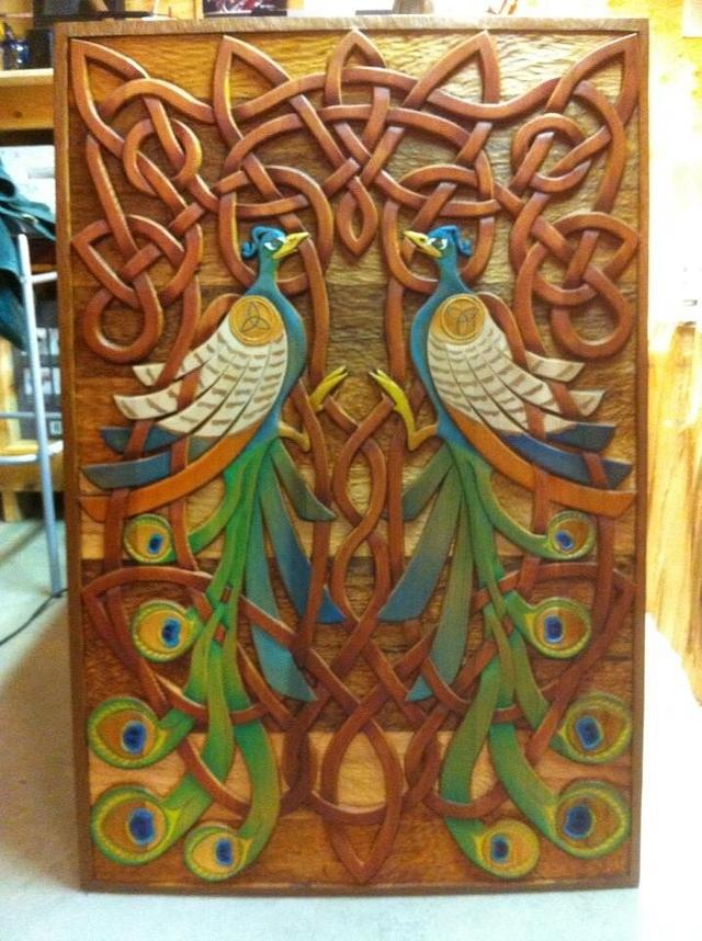 Celtic hand carved twin peacock panel