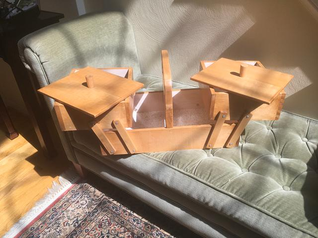 Cantilevered sewing box