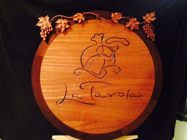 La Tavola restaurant sign 2014 - Woodworking Project by Mike C.