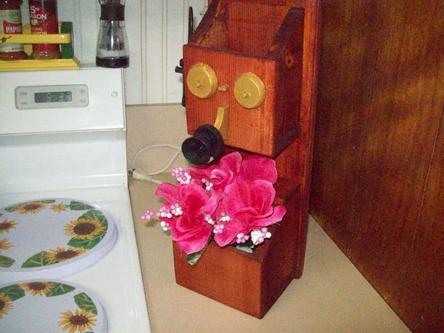 old rustic flower phone