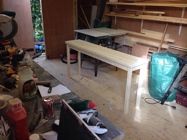 Slim pine sideboard