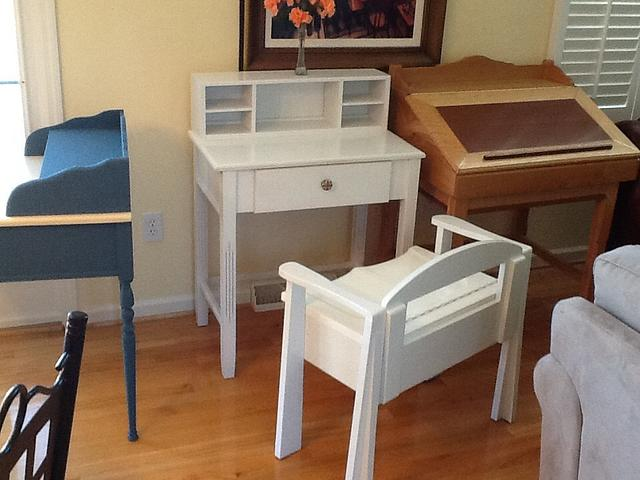 White writing desk with chair, storage in bottom of chair. - Woodworking Project by Jack King