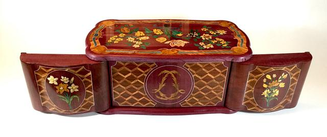 Two marquetry boxes