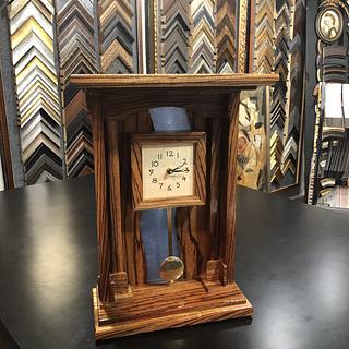 Zebra Wood Mantel Clock - Cake by James Tillman
