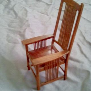 Gustav Stickley Tall Back Spindle Armchair - Cake by William Niver