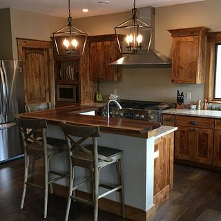 Knotty Alder kitchen Cabinets and Black Walnut live edge counter top - Woodworking Project by dacabinetguy