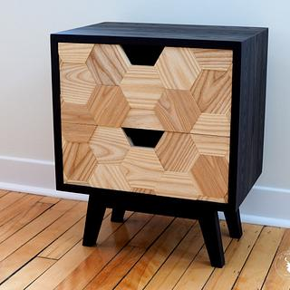 Mid-century Nightstand with Hexagon pattern drawers - Cake by Marie from DIY Montreal