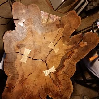 Tree Base Slab Table - Woodworking Project by Steve Tow
