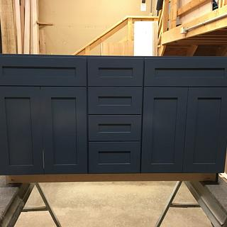 Blue Lacquer vanity cabinet - Woodworking Project by dacabinetguy