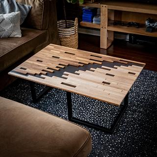 Pixelated Clear Epoxy Coffee Table - Project by ZacBuilds
