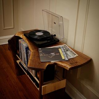 Crotch Walnut Waterfall Record Player Table - Cake by BerchtoldDesignBuild
